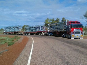 Truckloads of Spanlift Structural Steel being delivered to site 388